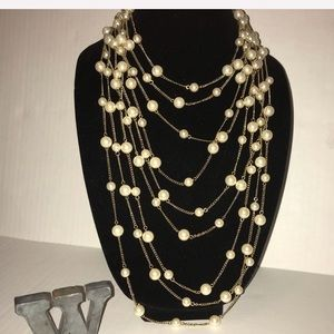 Jewelry - Women's Gold & Pearl Multi Strand Necklace